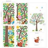 Decowall Muursticker boom scroll tree met bosdiertjes