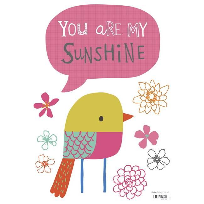 Lilipinso Muurstickers Vogel You Are My Sunshine Hippebeestjesnl