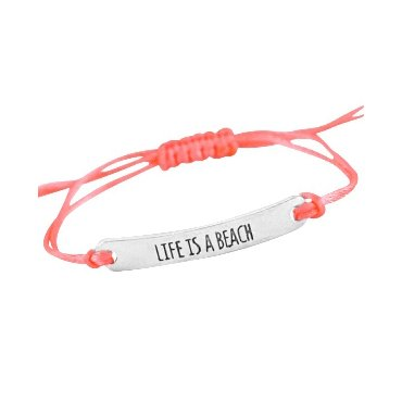 Armbandje Life is a Beach coral pink satijnkoord