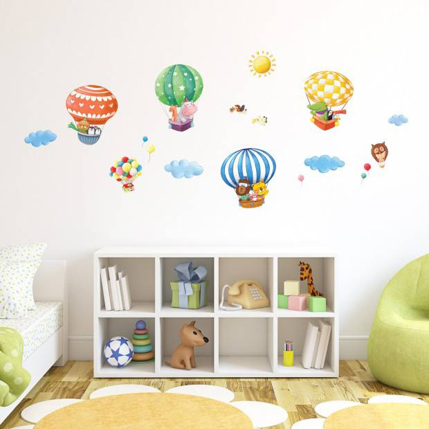 decowall muurstickers dierentrein met luchtballonnens. Black Bedroom Furniture Sets. Home Design Ideas