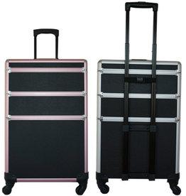 Trolly  Zwart Pink  H75xB45xD25cm  4 wieltjes