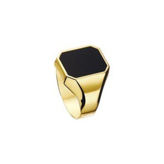 Huismerk zilver/goud Onyx gold signet ring