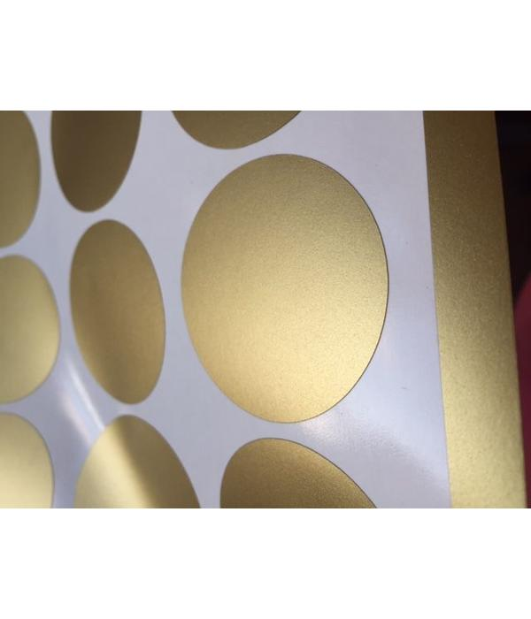 Mevrouw Aardbei 15 wall stickers circle gold 5 cm