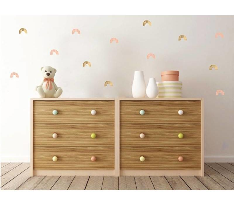 Pom le Bonhomme wall stickers rainbow pink gold