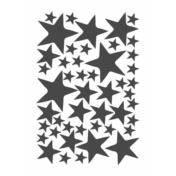 Mevrouw Aardbei 47 muurstickers sterren donker grijs