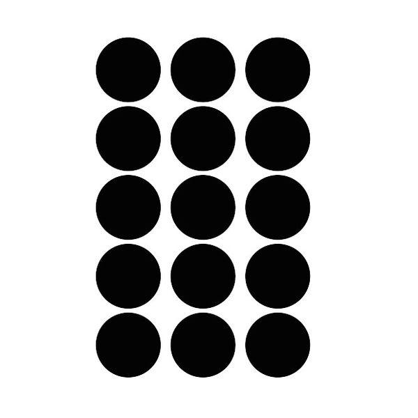 Mevrouw Aardbei 15 muurstickers cirkel zwart 5 cm