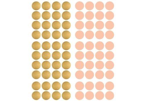 Pom le Bonhomme 80 Wandaufkleber Roségold Punkte 3.5cm