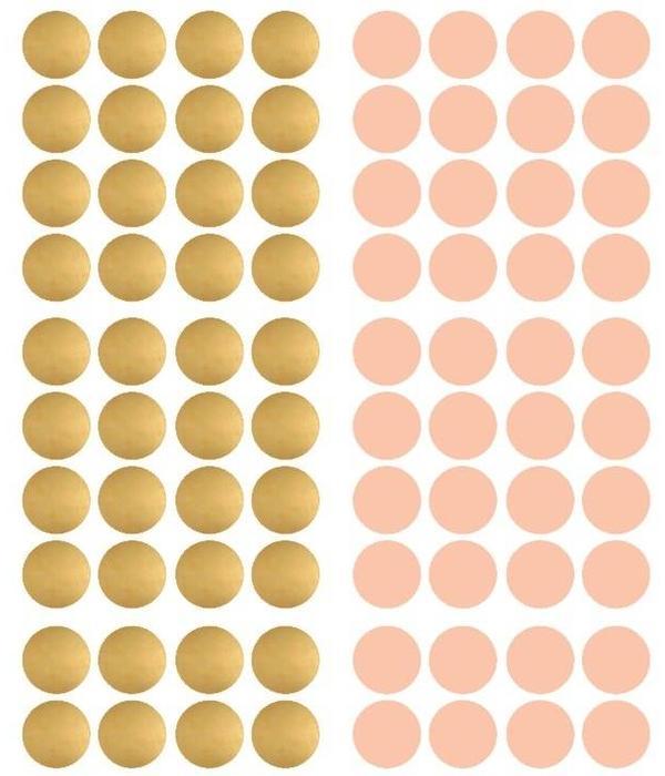 Pom le Bonhomme 80 muurstickers stippen goud roze 3,5cm