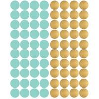 Pom le Bonhomme 80 muurstickers stippen goud mint 3,5cm