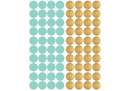 Pom le Bonhomme 80 Wandaufkleber Pünktchen Gold Minze 3.5cm