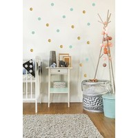 Pom le Bonhomme 80 wall stickers dots gold mint 3.5cm
