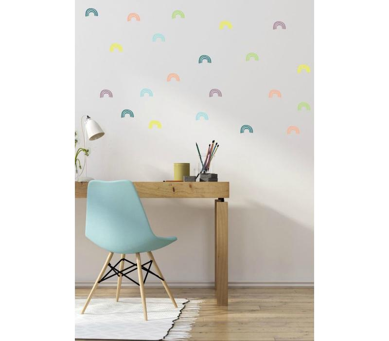 Pom le Bonhomme wall stickers rainbow pastel