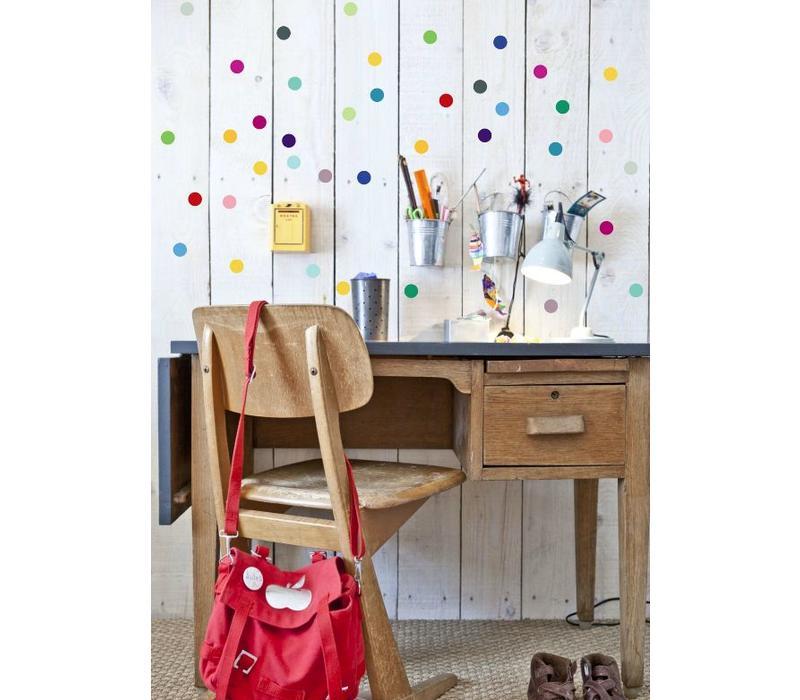 Pom le Bonhomme 80 muurstickers stippen multicolor 3,5cm