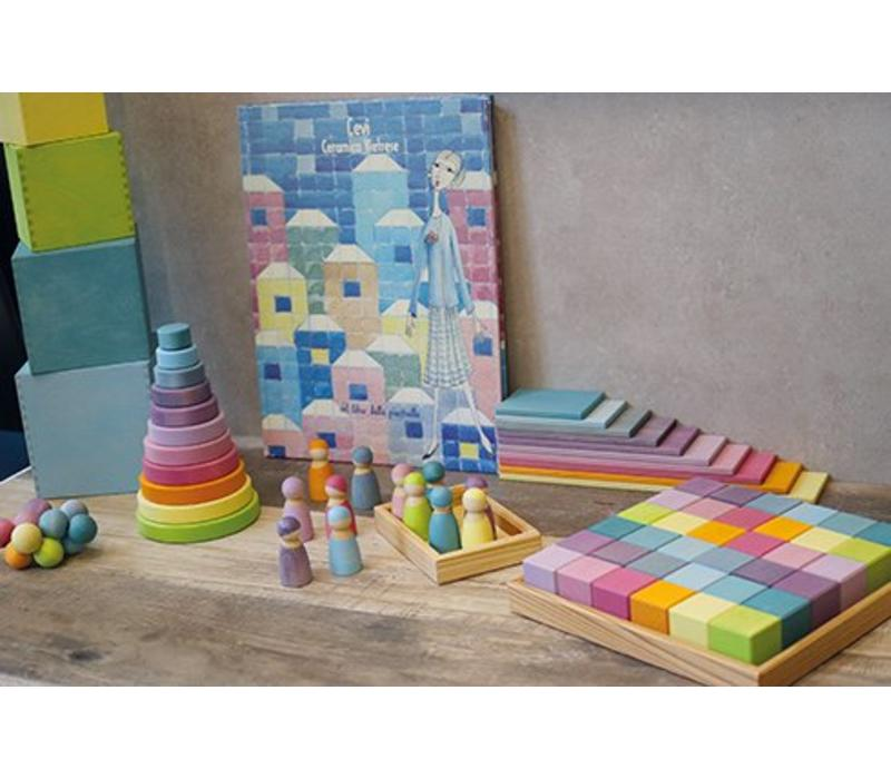 Grimm's Toy's kralen grijper rainbow pastel