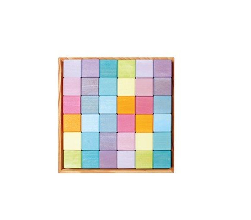 Grimm's Toy's vierkant 36 blokken pastel