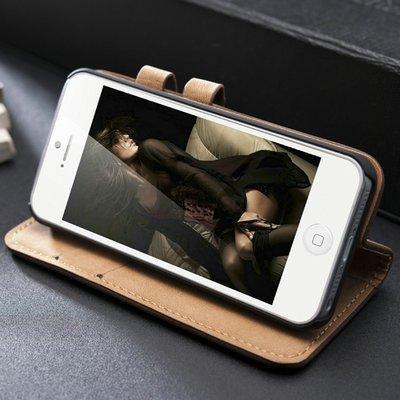 Lederen wallet case iPhone 5/5S beige