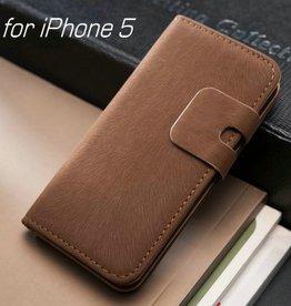 Lederen wallet case iPhone 5/5S donkerbruin