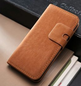 Lederen wallet case iPhone 5/5S lichtbruin