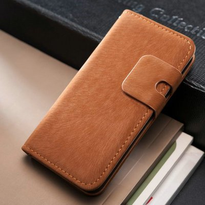 Lederen wallet case iPhone 5/5S lichtbruin