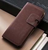 Lederen wallet case iPhone 5/5S paars