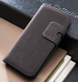 Lederen wallet case iPhone 5/5S donkergrijs