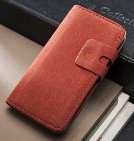 Lederen wallet case iPhone 5/5S rood