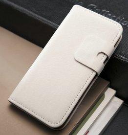 Lederen wallet case iPhone 5/5S wit