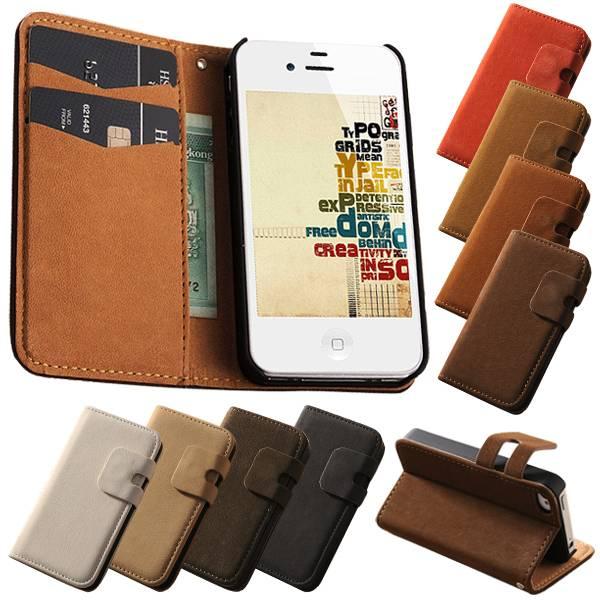 Lederen wallet case iPhone 4/4S blauw
