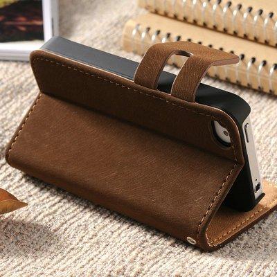 Lederen wallet case iPhone 4/4S bruin
