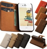 Lederen wallet case iPhone 4/4S grijs
