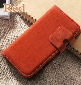 Lederen wallet case iPhone 4/4S rood