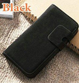 Lederen wallet case iPhone 4/4S zwart