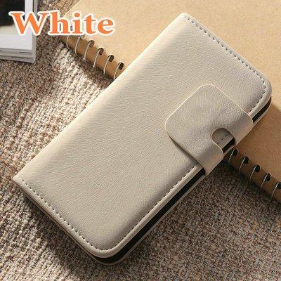 Lederen wallet case iPhone 4/4S wit