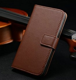 Luxe Lederen wallet case iPhone 5/5S bruin