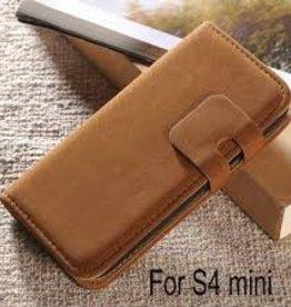 Lederen Wallet Case Samsung S4mini Bruin