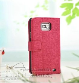 Vintage leren Wallet Case Samsung Galaxy S2 Roze