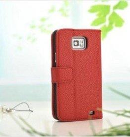 Vintage leren Wallet Case Samsung Galaxy S2 Rood