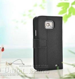 Vintage leren Wallet Case Samsung Galaxy S2 Zwart
