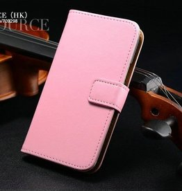 Lederen Wallet Case Samsung S4 mini Licht Roze