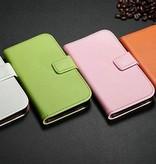 Lederen Wallet Case Samsung S4 mini Licht Blauw