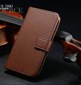 Lederen Wallet Case Samsung S4 mini Bruin