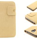 Lederen Wallet Case Samsung S4 Beige