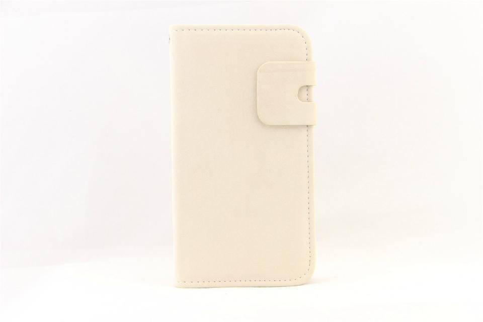 Lederen Wallet Case Samsung S4 Wit