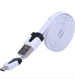 Platte micro usb kabel 1 meter wit