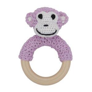 Sindibaba Häkelaffe auf Ring rosa