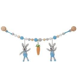 Sindibaba Kinderwagenkette Hasen blau