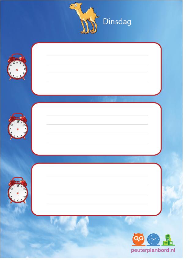 gratis dagplanner kind dinsdag