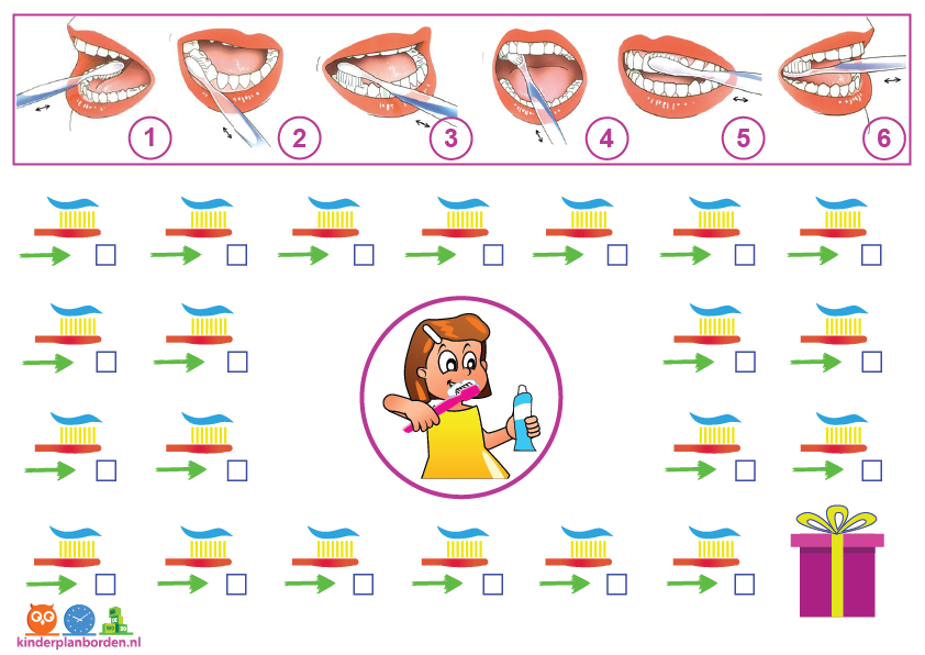 beloningskaart tanden poetsen meisje
