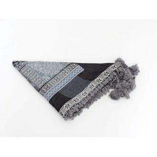 Dunks Sjaal Zwart/lichtgrijs met geweven sierband