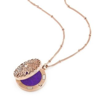 AromaLove Flowerburst aromadiffuser locket necklace 25mm diameter (rose gold)
